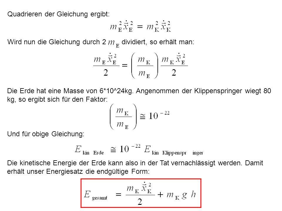 Quadrieren der Gleichung ergibt: