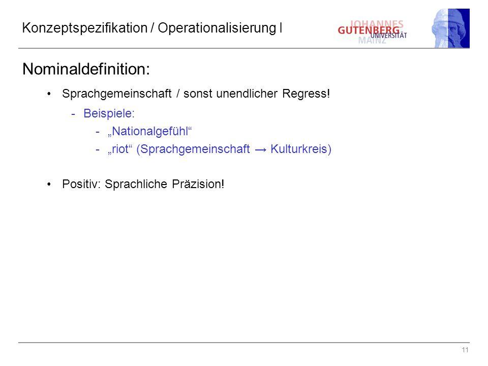 Konzeptspezifikation / Operationalisierung I