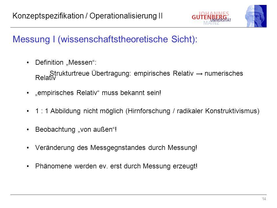 Konzeptspezifikation / Operationalisierung II