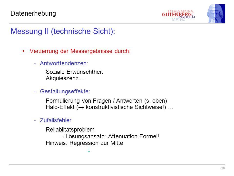 Messung II (technische Sicht):