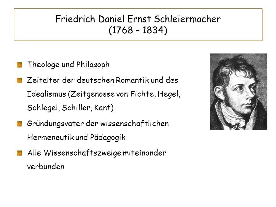 Friedrich Daniel Ernst Schleiermacher (1768 – 1834)
