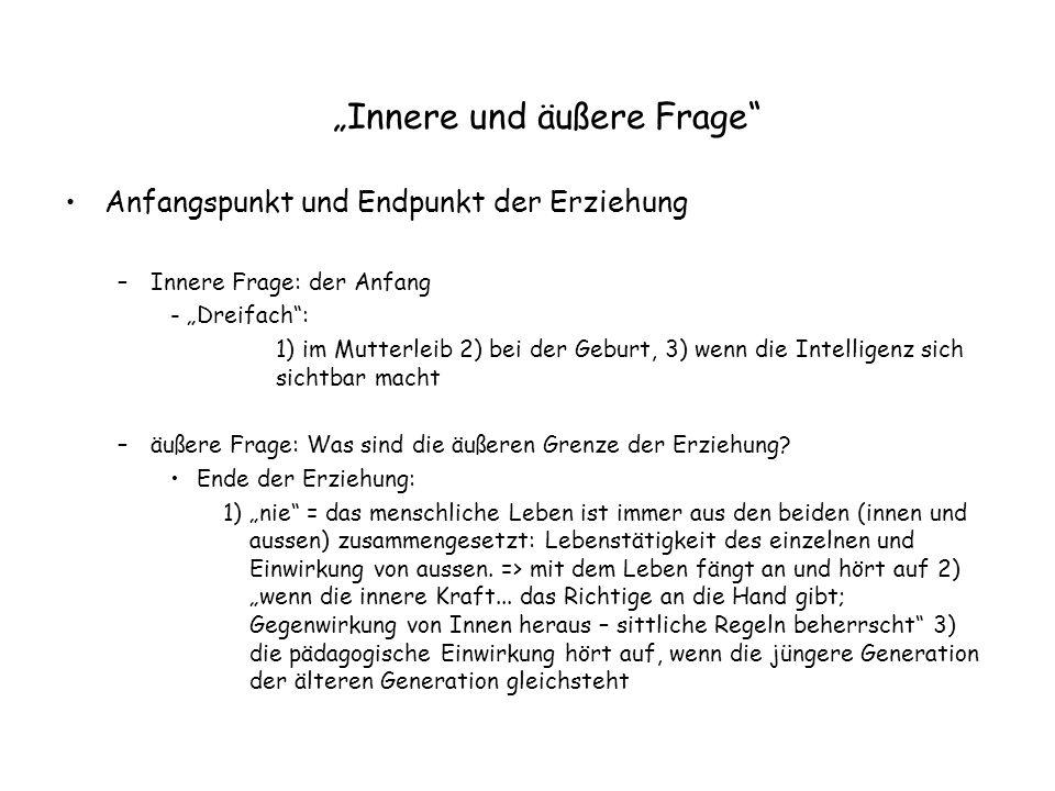 """""""Innere und äußere Frage"""