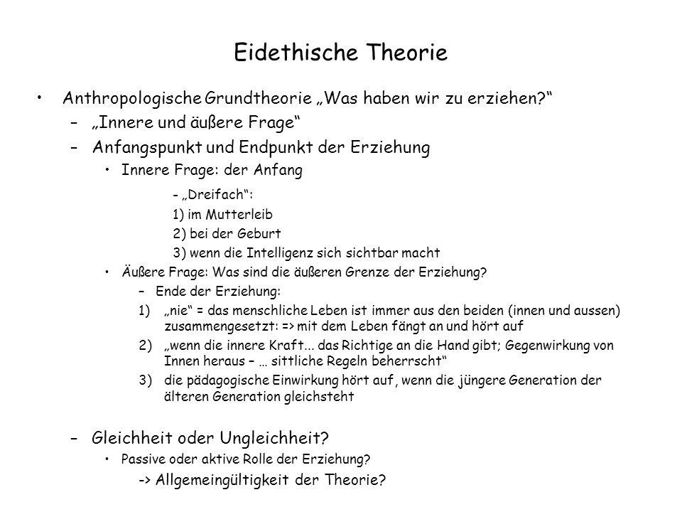 """Eidethische Theorie Anthropologische Grundtheorie """"Was haben wir zu erziehen """"Innere und äußere Frage"""