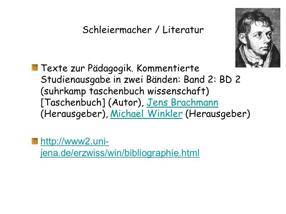Schleiermacher / Literatur