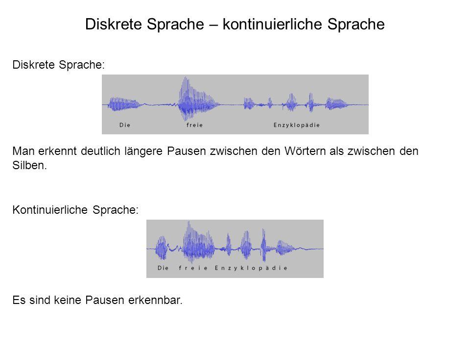 Diskrete Sprache – kontinuierliche Sprache