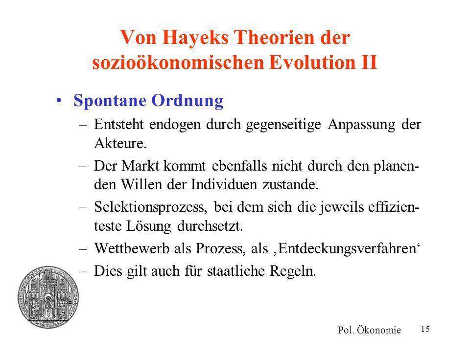 Von Hayeks Theorien der sozioökonomischen Evolution II