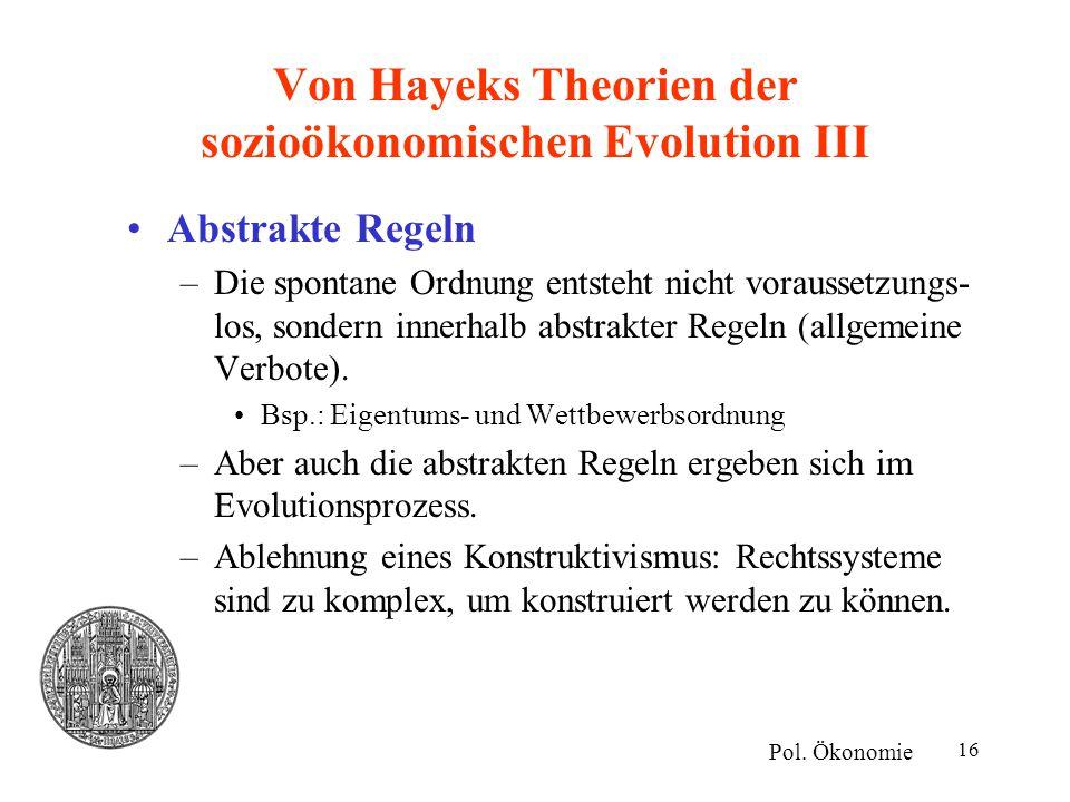Von Hayeks Theorien der sozioökonomischen Evolution III
