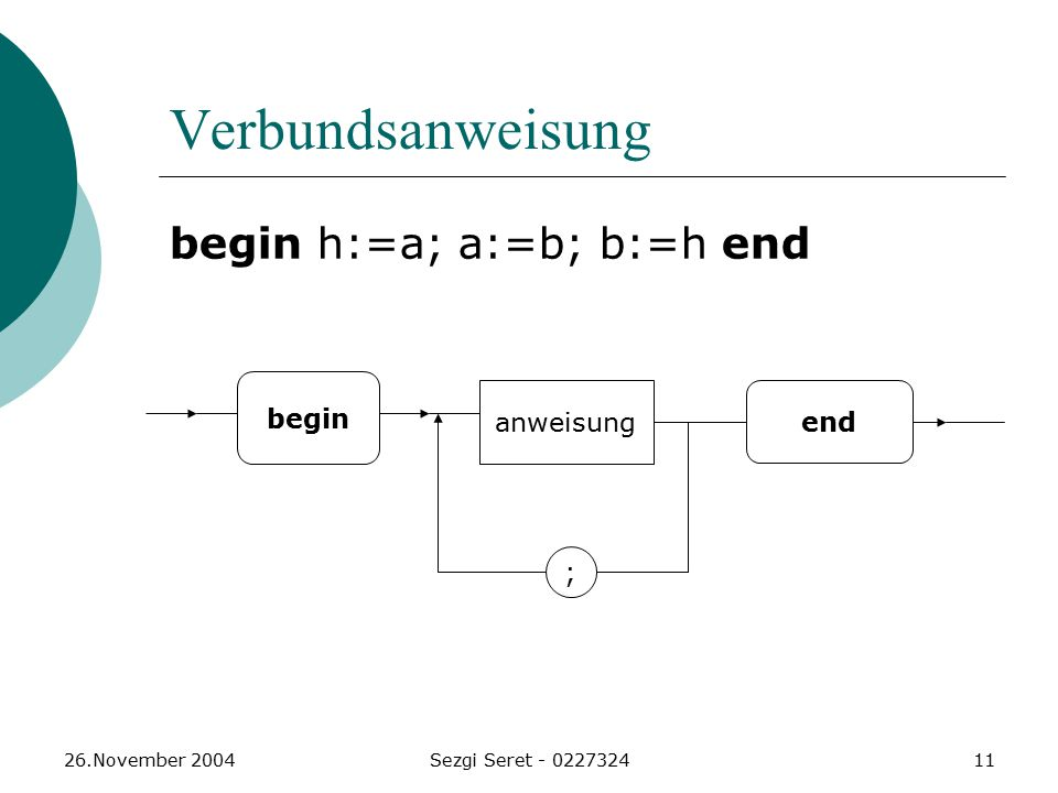 Verbundsanweisung begin h:=a; a:=b; b:=h end begin anweisung end ;
