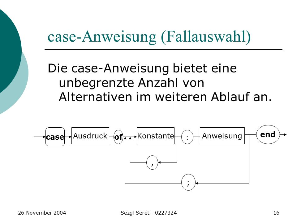 case-Anweisung (Fallauswahl)