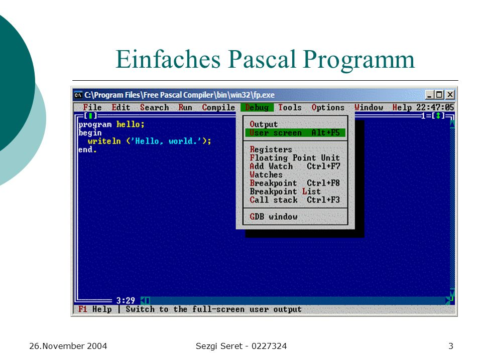 Einfaches Pascal Programm