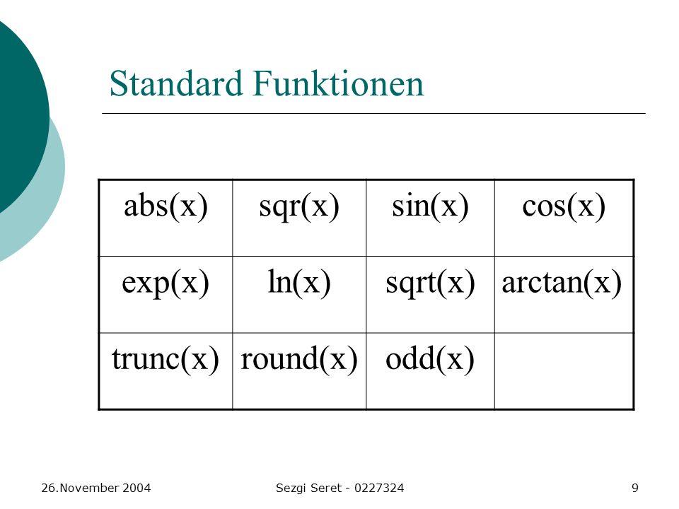 Standard Funktionen abs(x) sqr(x) sin(x) cos(x) exp(x) ln(x) sqrt(x)