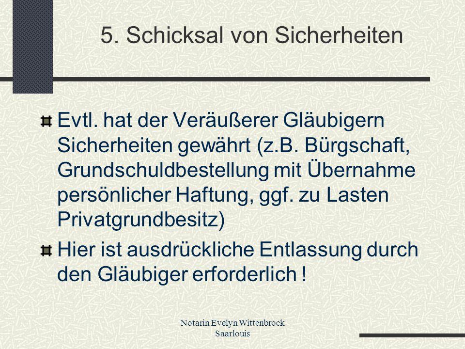 5. Schicksal von Sicherheiten