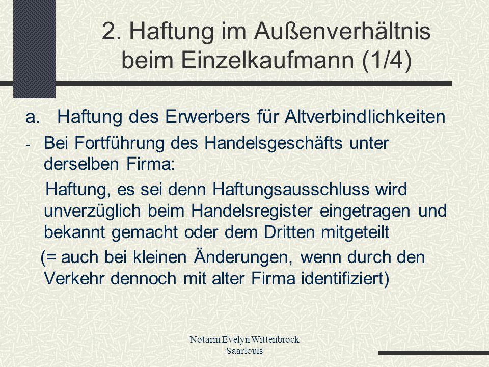 2. Haftung im Außenverhältnis beim Einzelkaufmann (1/4)