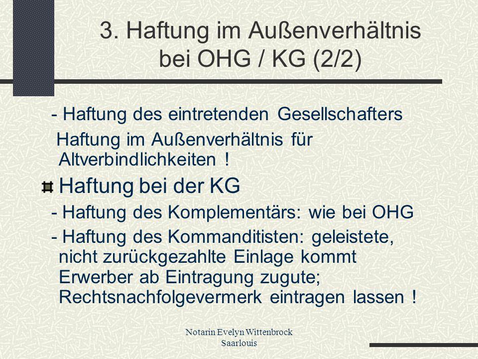 3. Haftung im Außenverhältnis bei OHG / KG (2/2)
