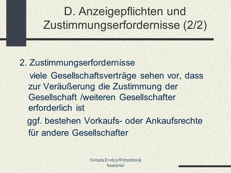 D. Anzeigepflichten und Zustimmungserfordernisse (2/2)