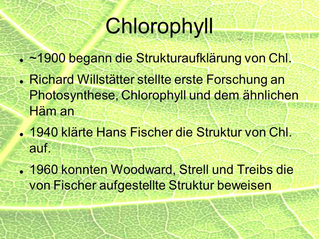 Chlorophyll ~1900 begann die Strukturaufklärung von Chl.