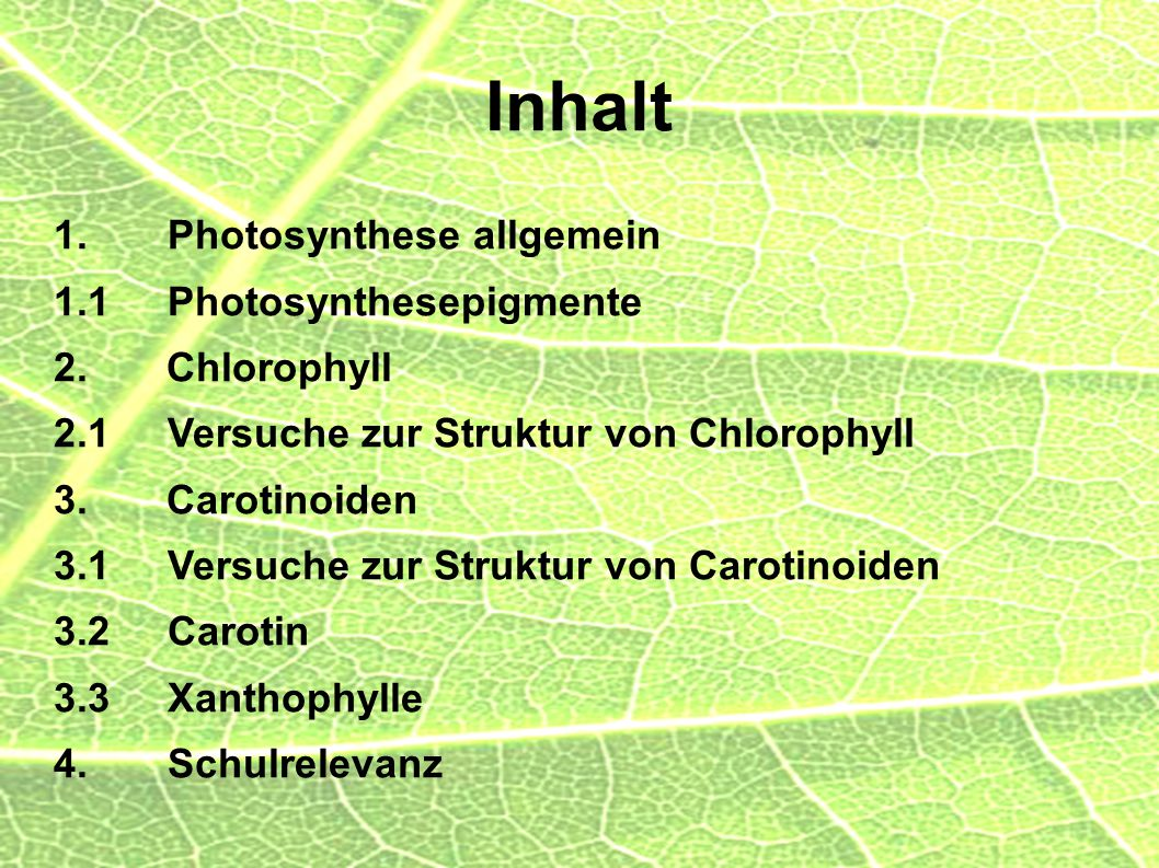 Inhalt 1. Photosynthese allgemein 1.1 Photosynthesepigmente