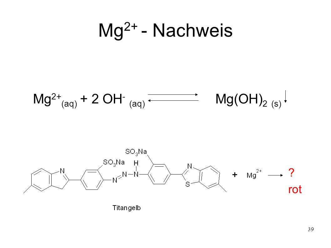 Mg2+ - Nachweis Mg2+(aq) + 2 OH- (aq) Mg(OH)2 (s) rot