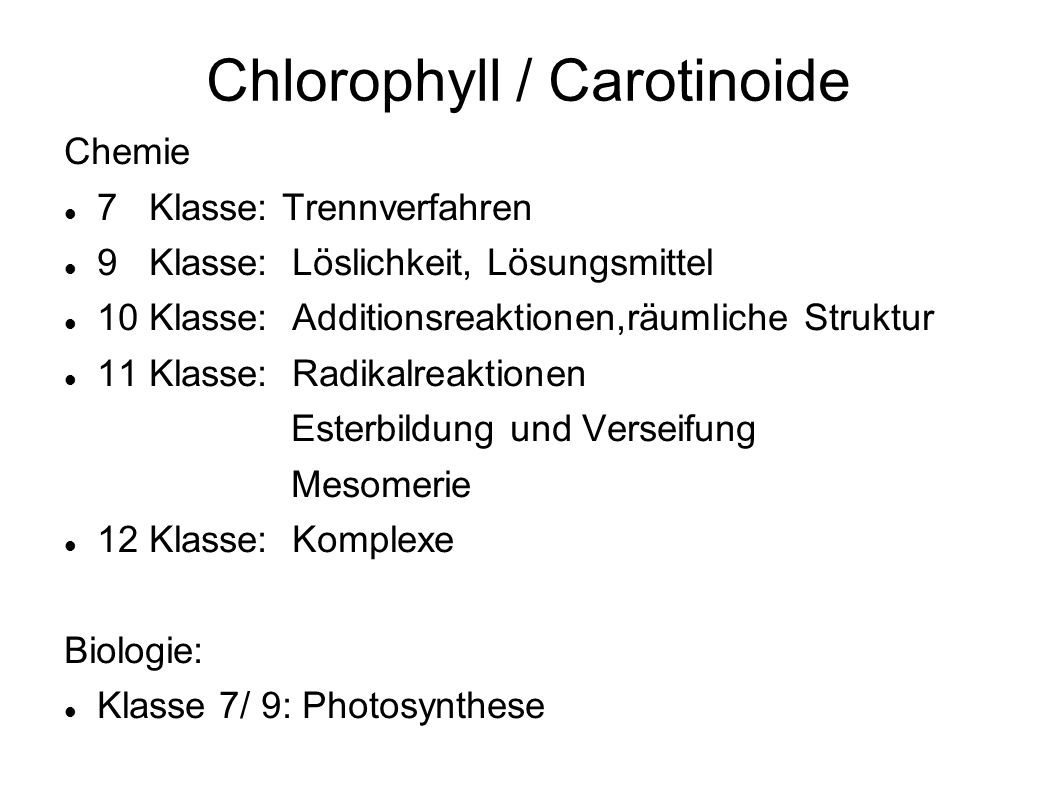 Chlorophyll / Carotinoide
