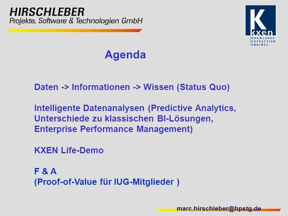 Agenda Daten -> Informationen -> Wissen (Status Quo)