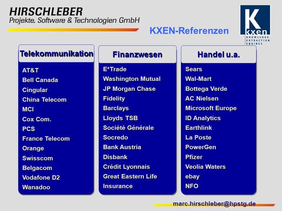 KXEN-Referenzen Telekommunikation Finanzwesen Handel u.a. AT&T