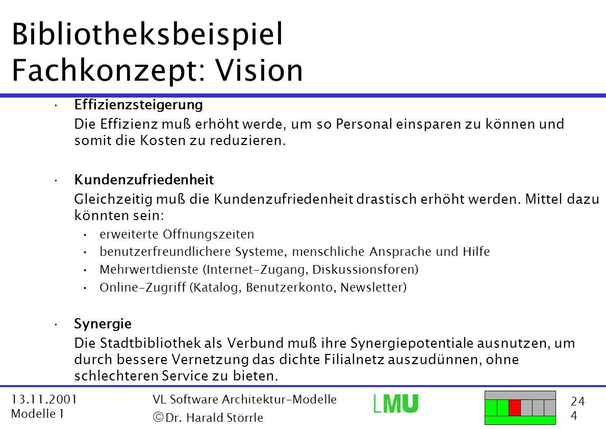 Bibliotheksbeispiel Fachkonzept: Vision