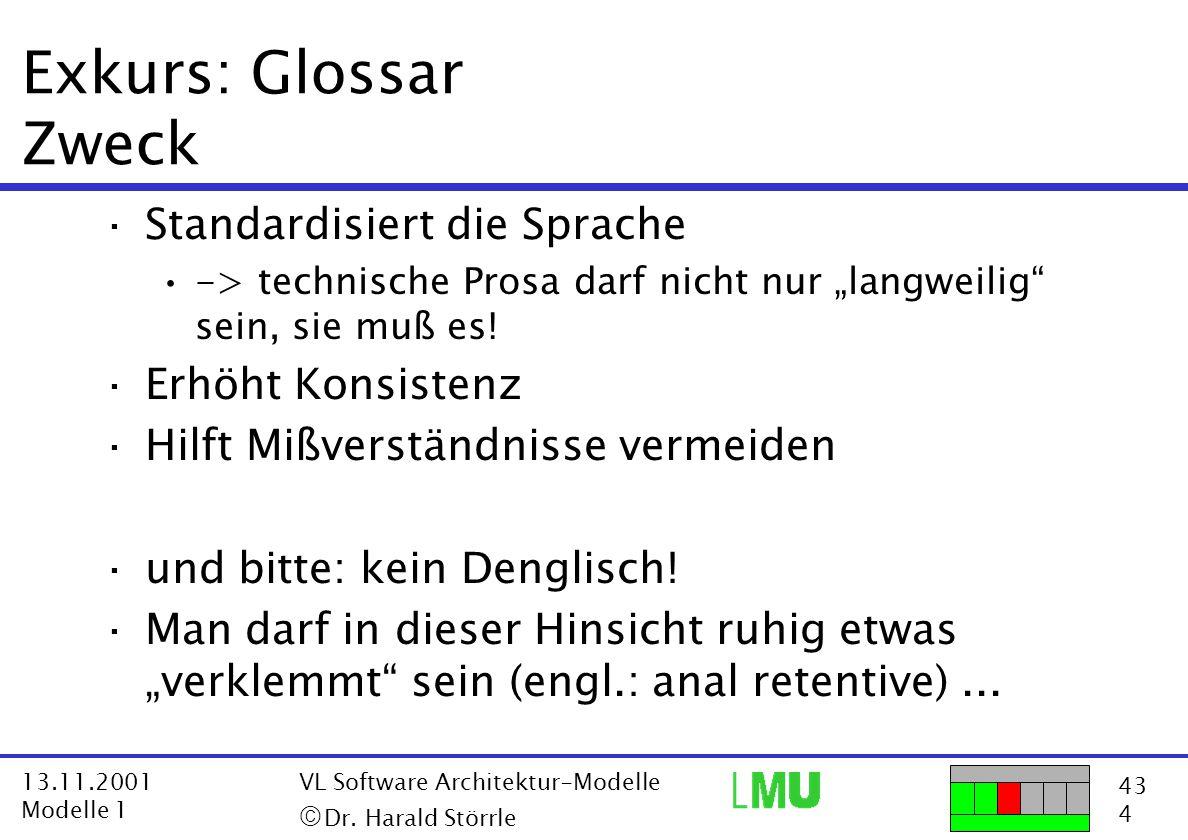 Exkurs: Glossar Zweck Standardisiert die Sprache Erhöht Konsistenz