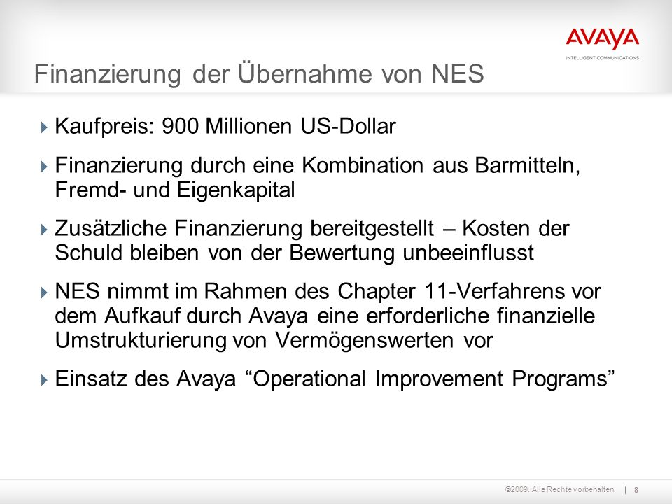 Finanzierung der Übernahme von NES