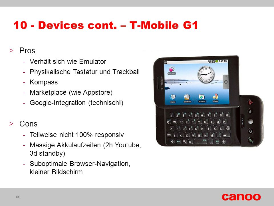 10 - Devices cont. – T-Mobile G1