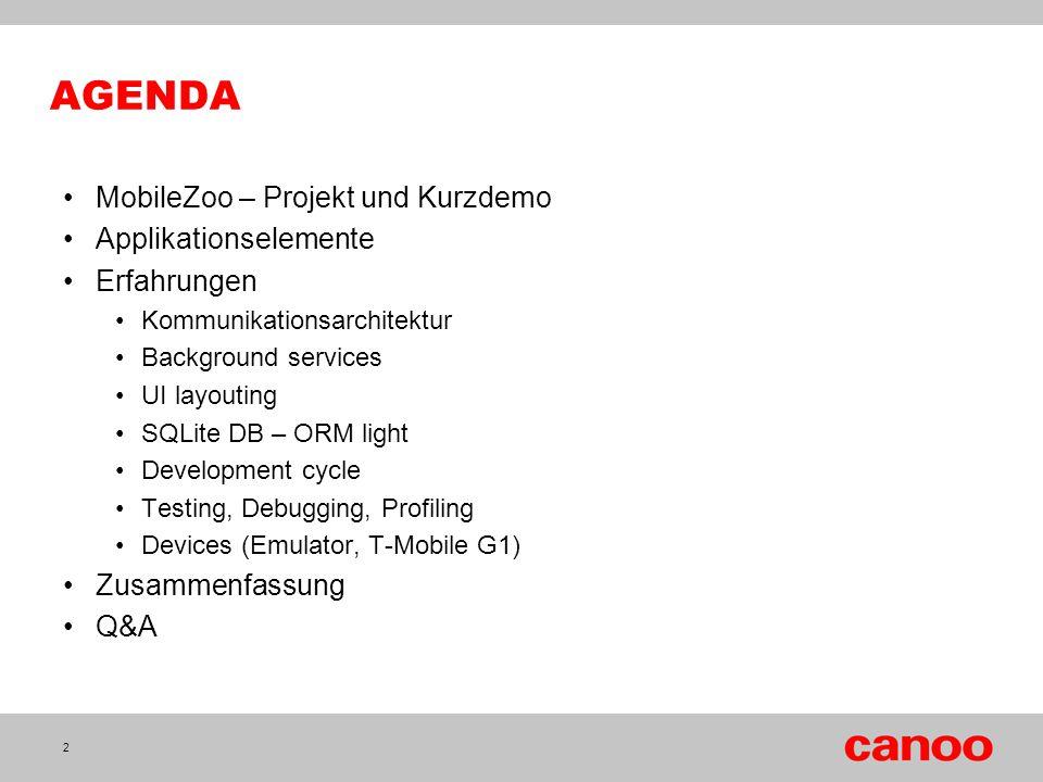 AGENDA MobileZoo – Projekt und Kurzdemo Applikationselemente