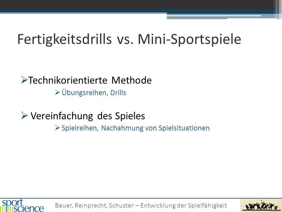 Fertigkeitsdrills vs. Mini-Sportspiele