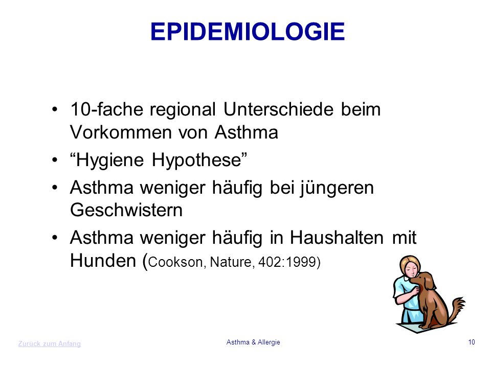 EPIDEMIOLOGIE 10-fache regional Unterschiede beim Vorkommen von Asthma