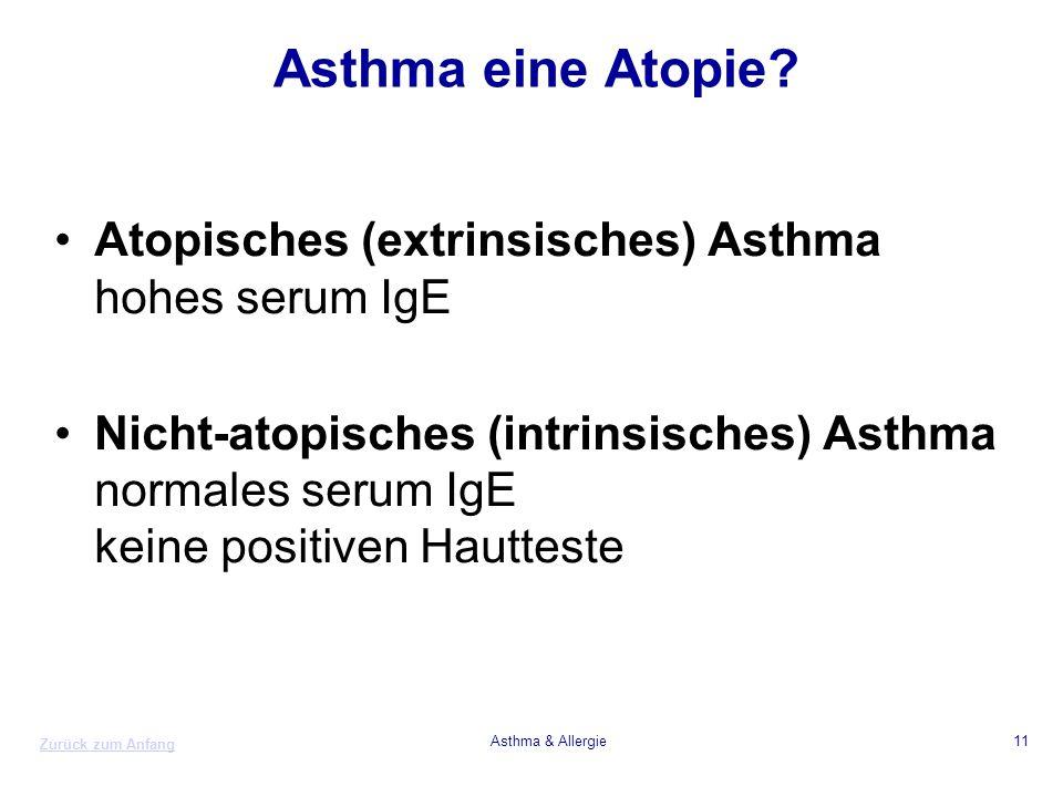 Asthma eine Atopie Atopisches (extrinsisches) Asthma hohes serum IgE