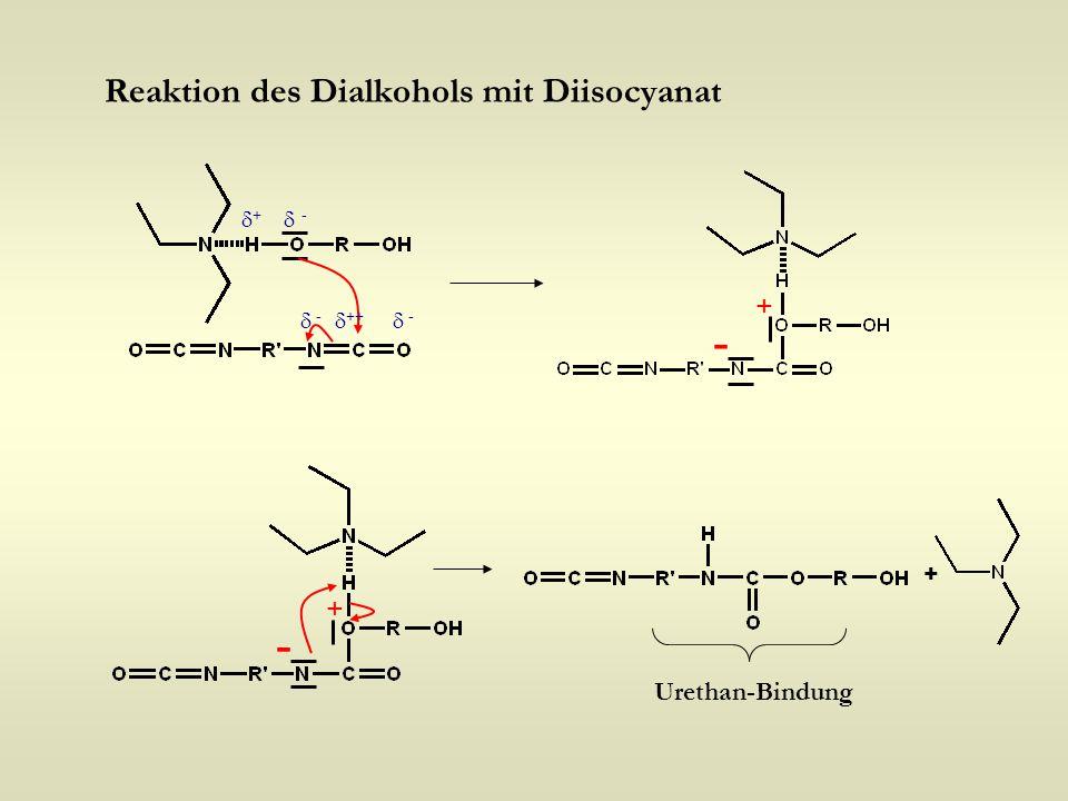 - - Reaktion des Dialkohols mit Diisocyanat + + Urethan-Bindung +  -