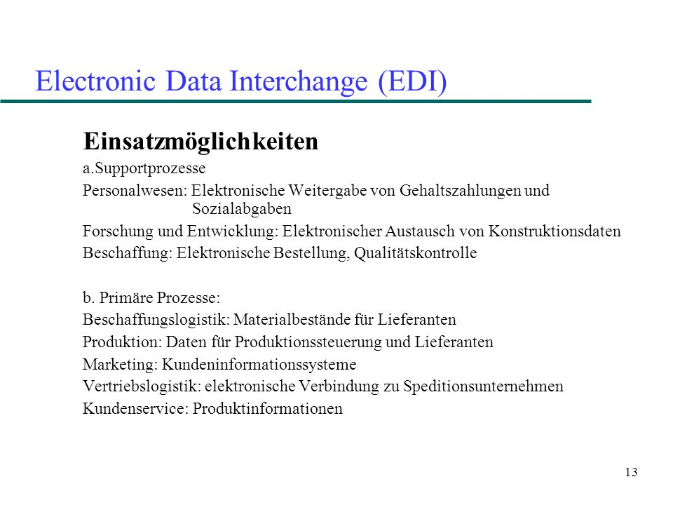 Electronic Data Interchange (EDI)