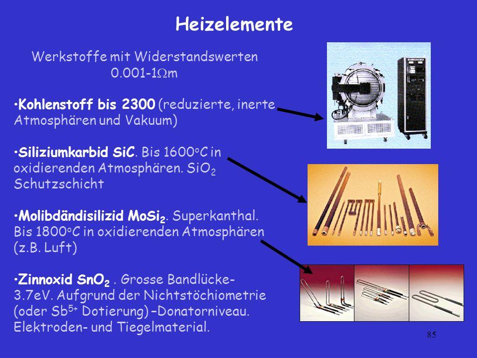 Werkstoffe mit Widerstandswerten 0.001-1m