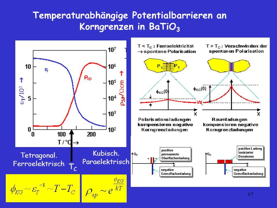 Temperaturabhängige Potentialbarrieren an Korngrenzen in BaTiO3