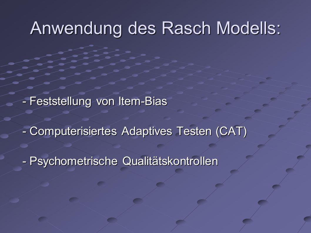 Anwendung des Rasch Modells: