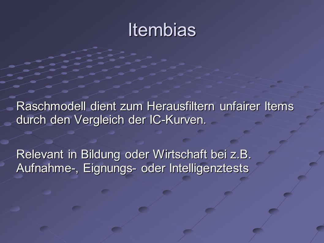 Itembias Raschmodell dient zum Herausfiltern unfairer Items durch den Vergleich der IC-Kurven.