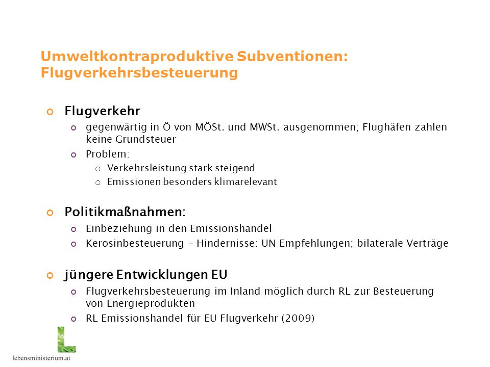 Umweltkontraproduktive Subventionen: Flugverkehrsbesteuerung