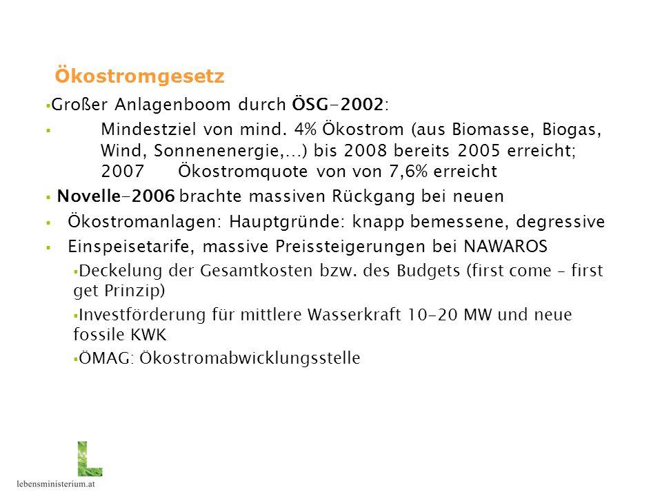 Ökostromgesetz Großer Anlagenboom durch ÖSG-2002: