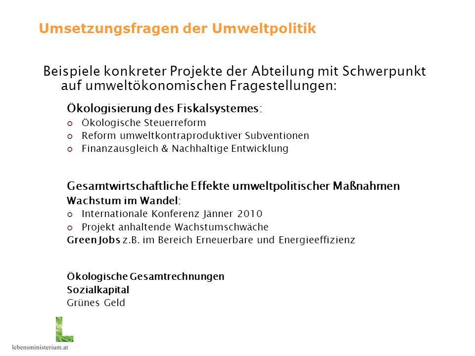 Umsetzungsfragen der Umweltpolitik