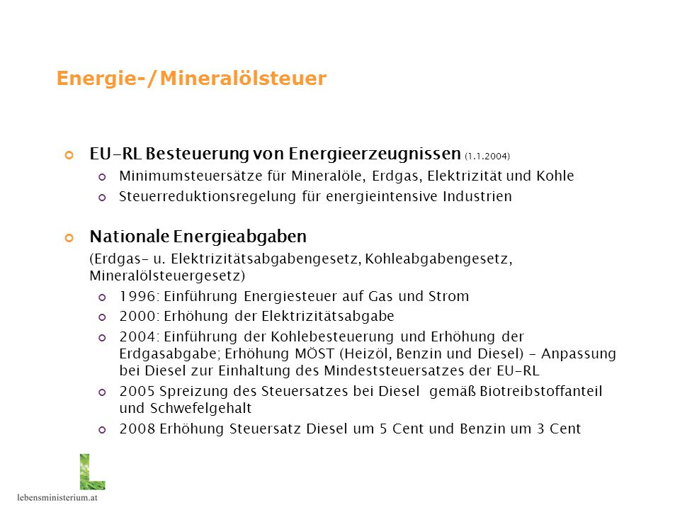 Energie-/Mineralölsteuer