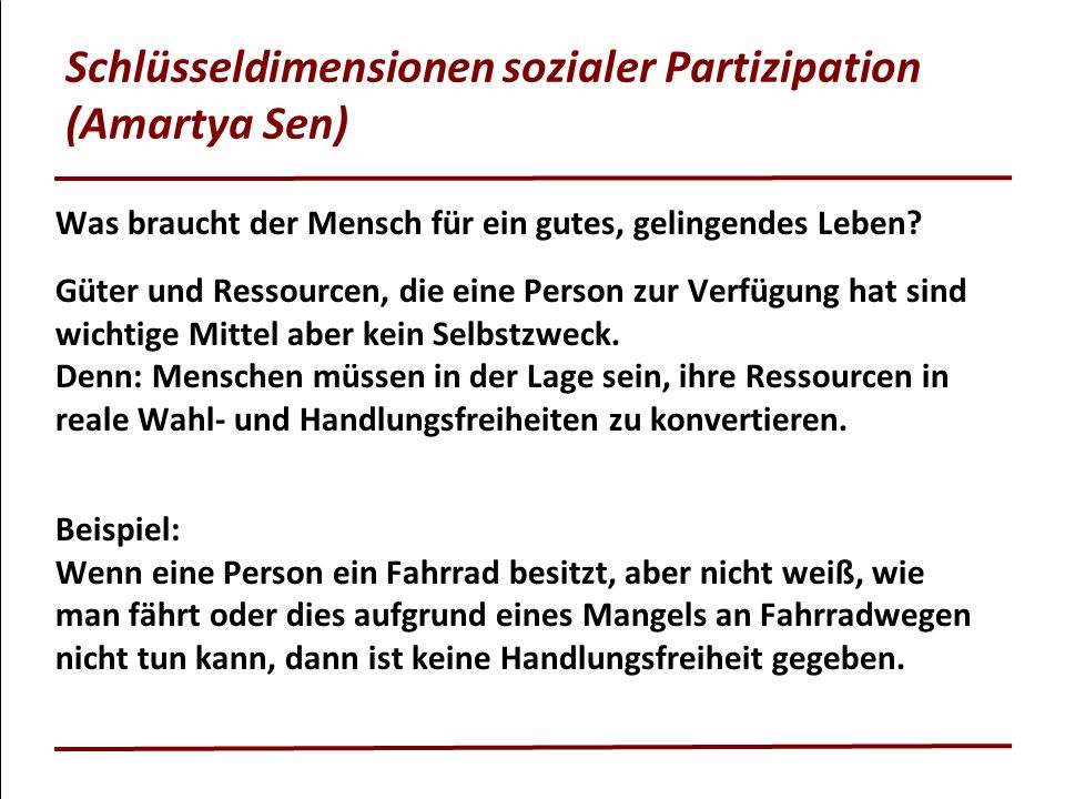 Schlüsseldimensionen sozialer Partizipation (Amartya Sen)