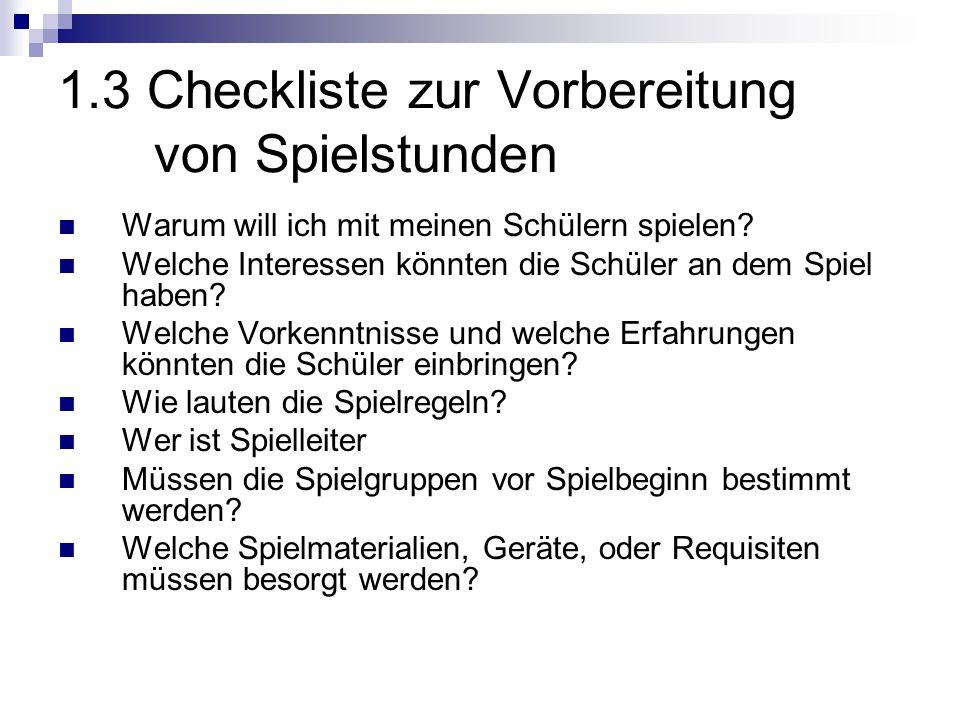 1.3 Checkliste zur Vorbereitung von Spielstunden