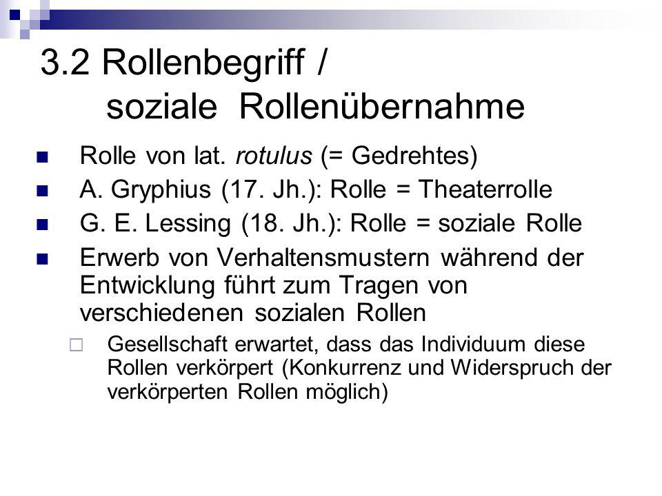 3.2 Rollenbegriff / soziale Rollenübernahme