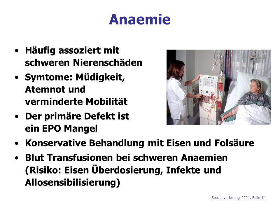 Anaemie Häufig assoziert mit schweren Nierenschäden