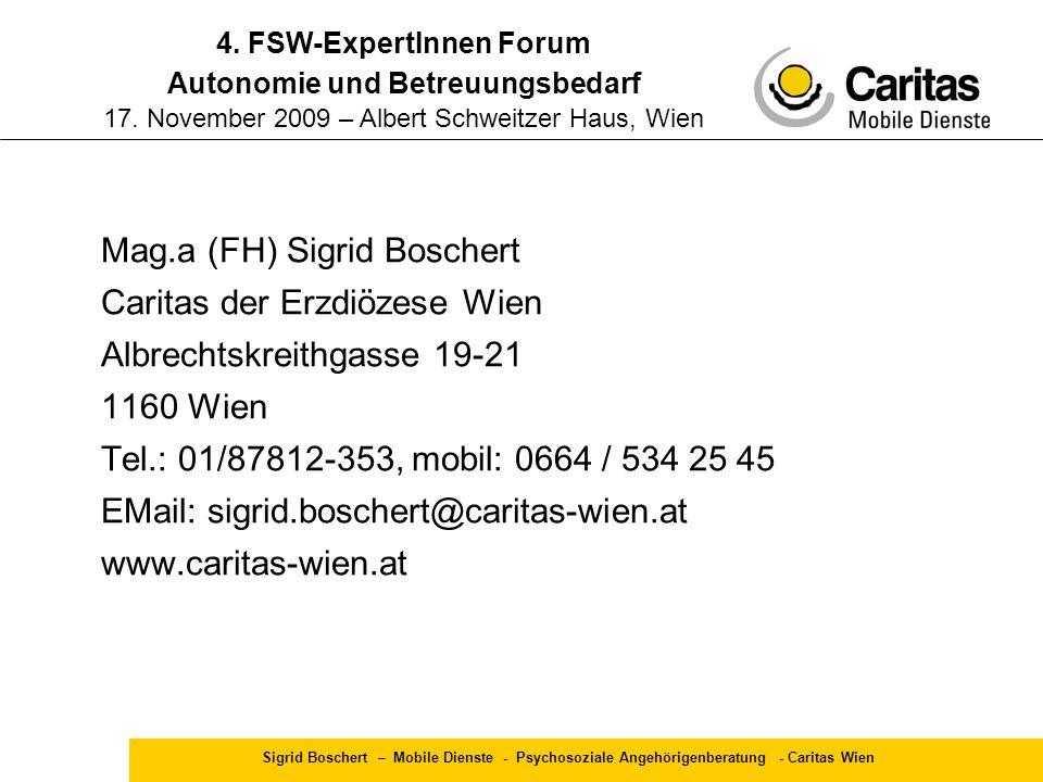 4. FSW-ExpertInnen Forum Autonomie und Betreuungsbedarf 17
