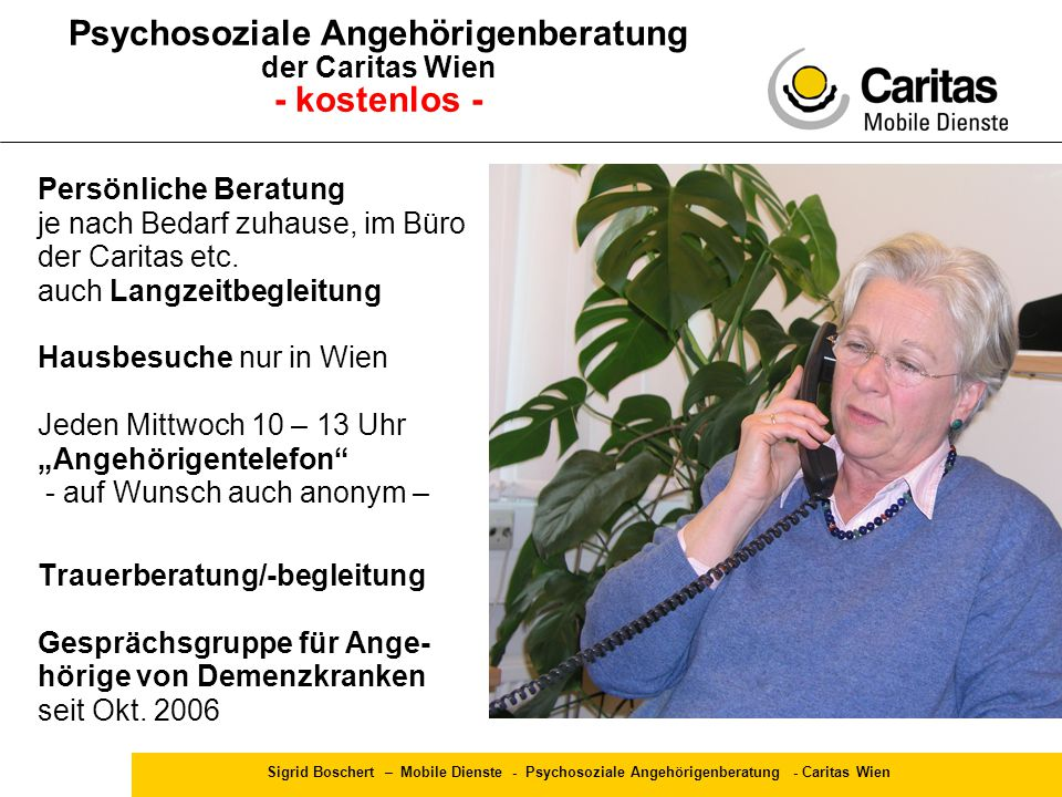 Psychosoziale Angehörigenberatung der Caritas Wien - kostenlos -