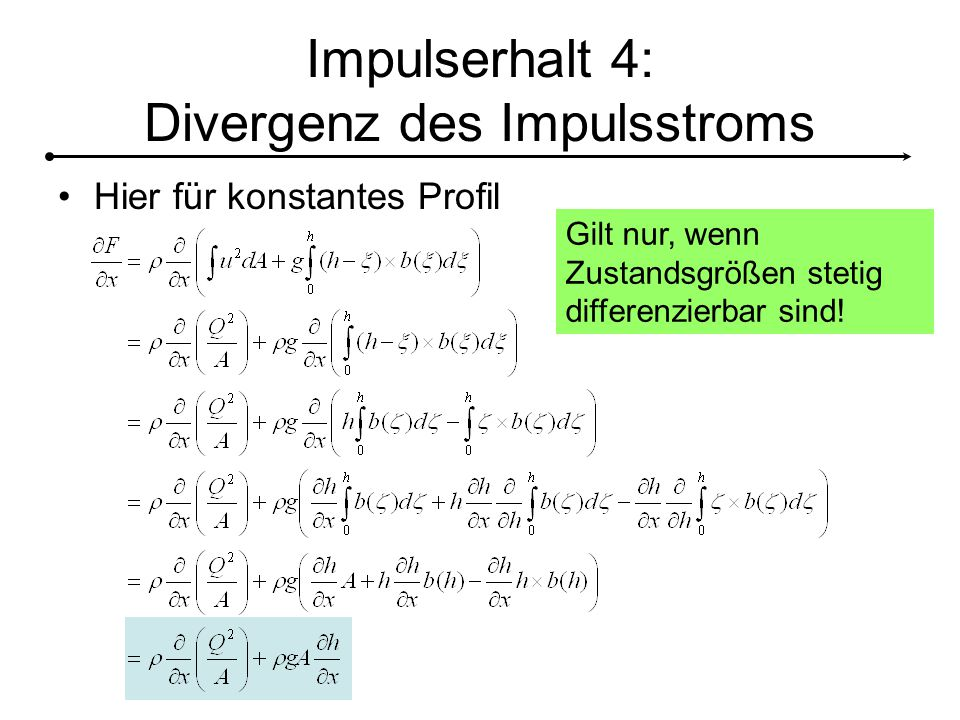 Impulserhalt 4: Divergenz des Impulsstroms